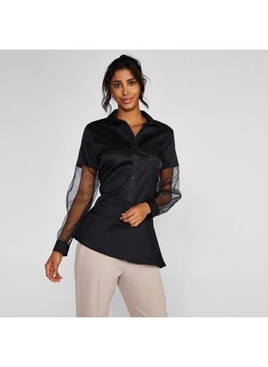 Vekem-Limited Edition Uzun Transparan Kol Detaylı Asimetrik Kesim Gömlek Siyah